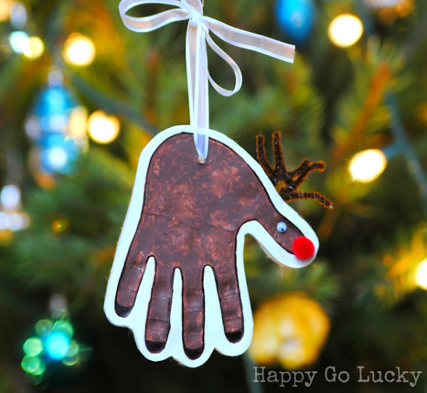 reindeer handprint happy go lucky