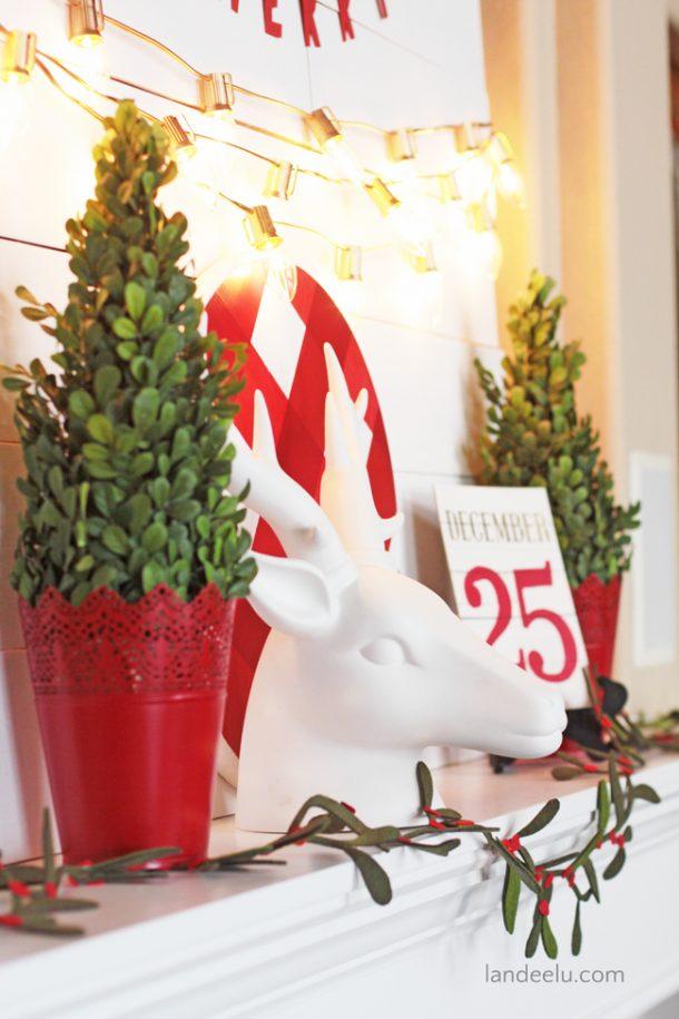 Gold Lights Christmas Mantel