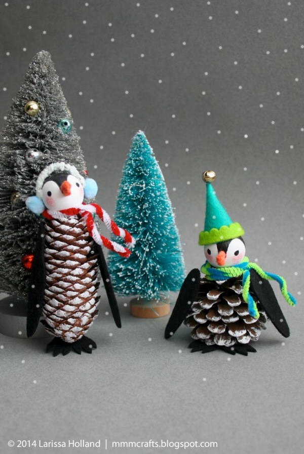 Penguin DIY Pine Cone Ornaments