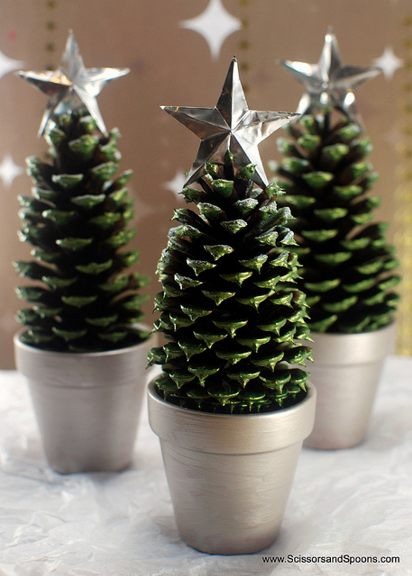 Pine Cone Christmas Trees Scissors and Spoons