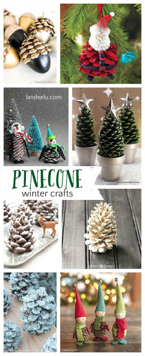 pretty winter crafts using pinecones landeelucom - Decorating Large Pine Cones For Christmas