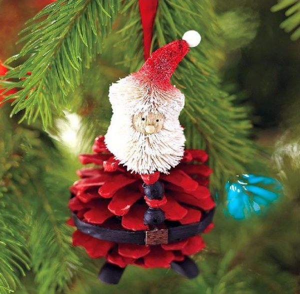 Homemade Santa Ornaments Pine Cone Christmas Tree