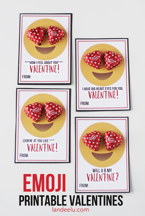 Free Emoji Printable Classmate Valentines via Landeelu - perfect for teens and tweens who love their emoticons! These will be the talk of the classroom.