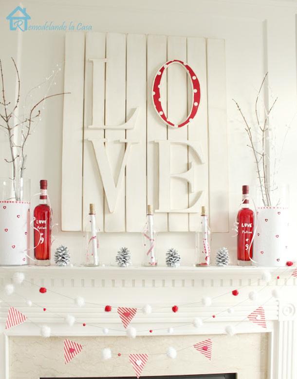 Valentine's red and white mantel White slatted LOVE sign remodelandolacasa