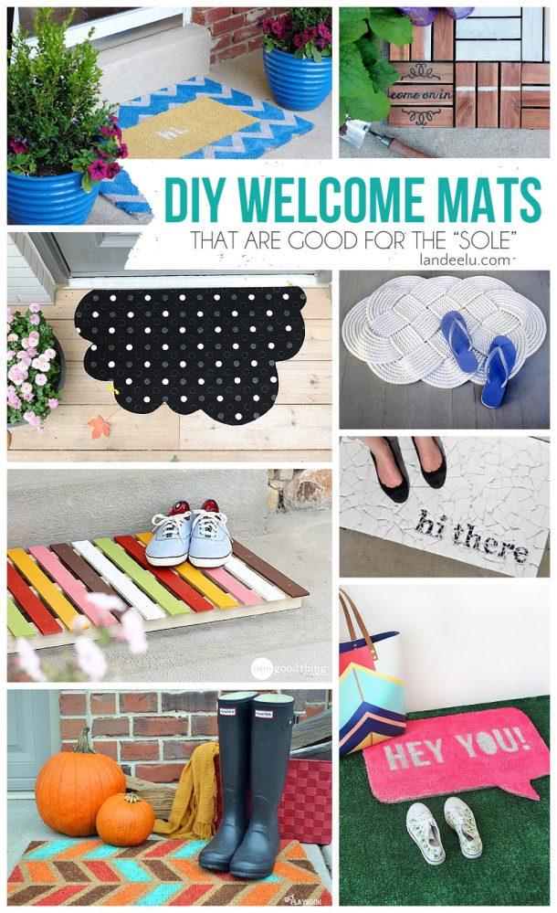 DIY Welcome Mats | landeelu.com  Make your doormat exactly how you want it!  Lots of inspiring ideas here!
