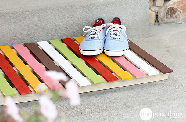 Diy Colored slats wooden doormat one good thing by jillee