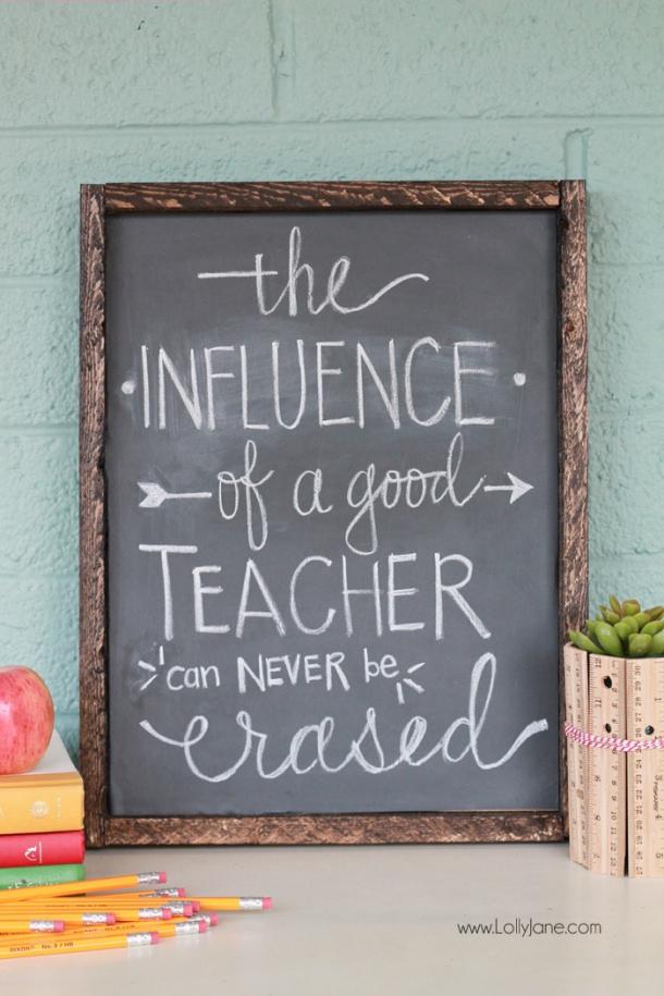 DIY Projects Crafts Ideas DIY Vinyl Chalkboard Framed Sign Tutorial | DIY Ideas Tutorial Teacher Gift Idea Lolly Jane