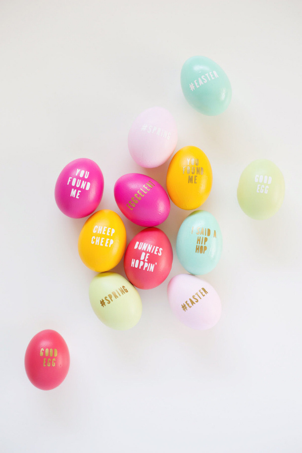 DIY Typography Easter Eggs tutorial via lovely indeed