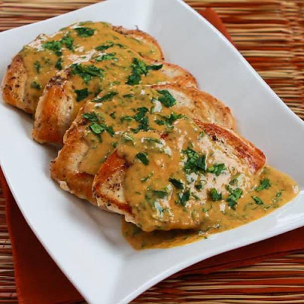 Sauteed Chicken Breasts with Cilantro and Red Thai Curry Peanut Sauce ...