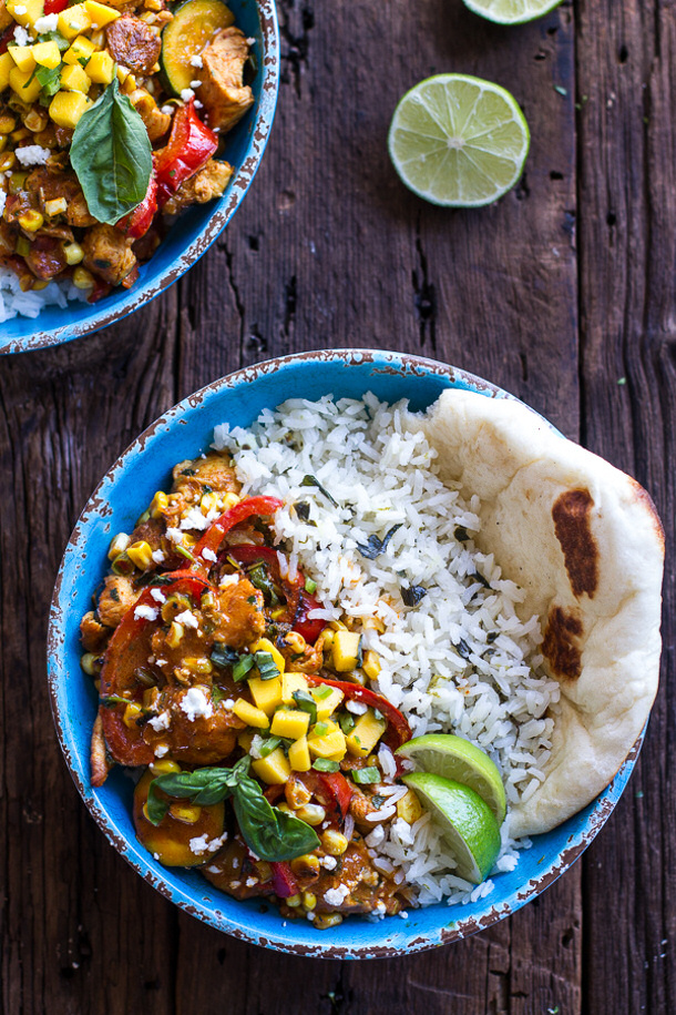 Chicken Curry Recipe - Simple Summertime Basil Chicken Curry with Coconut ginger-Lime Rice via half baked harvest