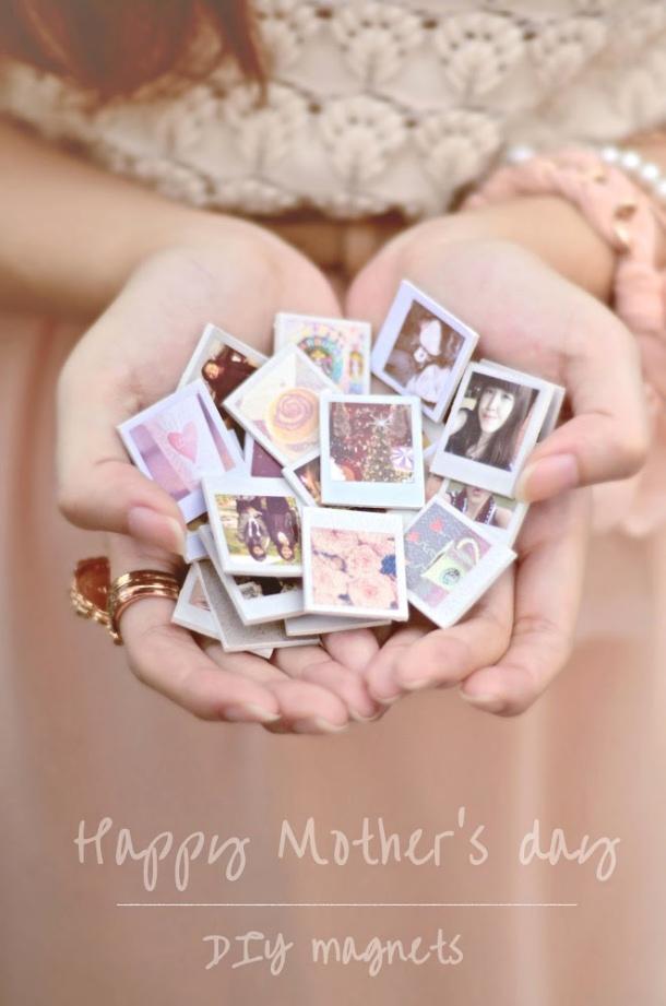 DIY gift ideas for Mothers Day - DIY mini Polaroid Photo Fridge Magnets Tutorial