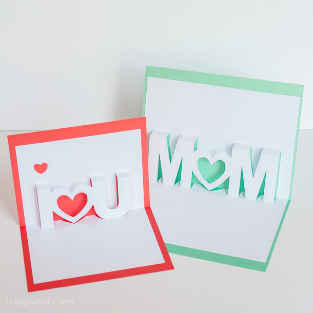DIY gift ideas for Mothers Day - Pop Up Cards FREE cut file via 1 dog woof