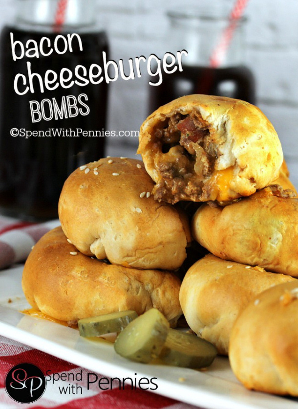 Ground Beef Recipes - Bacon Cheeseburger Bombs via Spend with Pennies