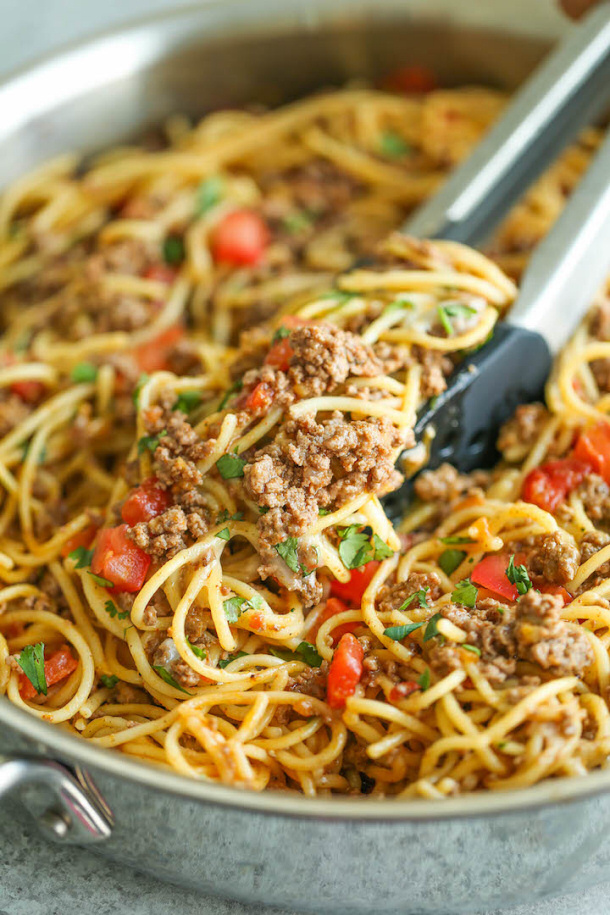 Ground Beef Recipes - One Pot Taco Spaghetti Recipe via Damn Delicious