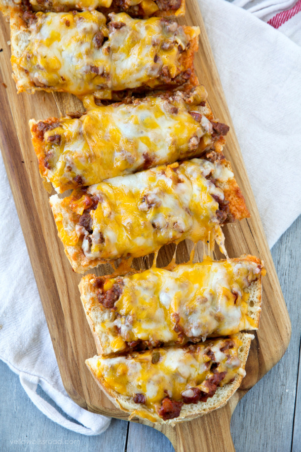 Ground Beef Recipes - Sloppy Joe French Bread Pizza Recipe via Yellow Bliss Road