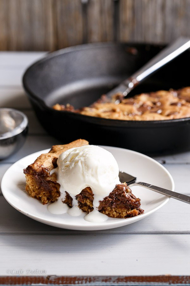 Skillet Baked Candy Bar Stuffed Double Cookie Recipe — Dishmaps