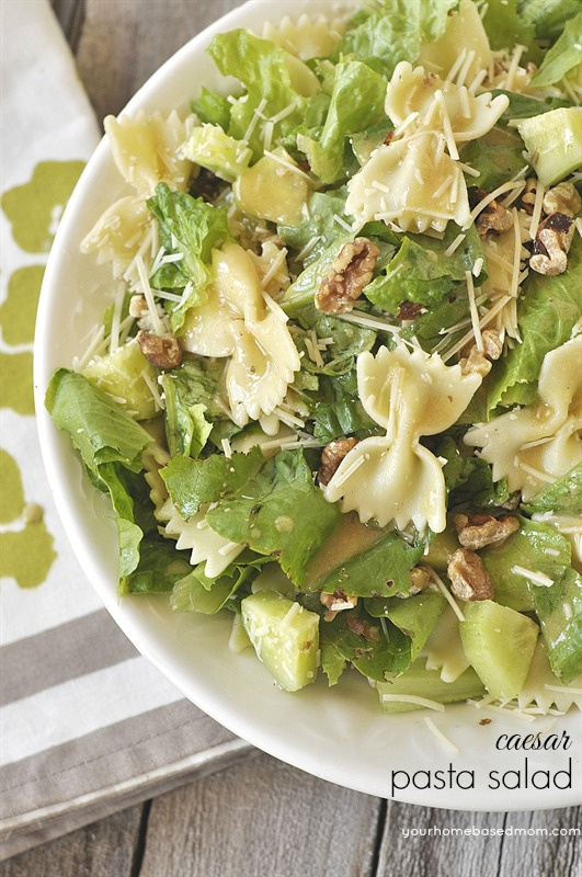 Caesar Pasta Salad Recipe - Delicious crowd-pleaser! Perfect for Barbecues and Potluck parties. Recipe via Your Homebased Mom