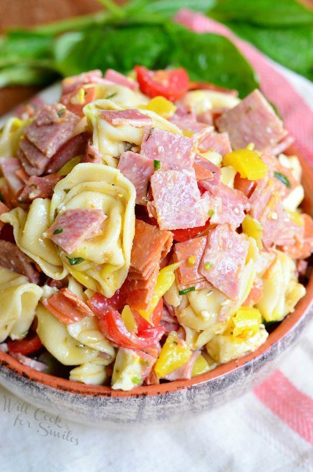 Pasta Salad Recipe - Italian Tortellini Salad is perfect for BBQs and Potlucks! Recipe via Will Cook for Smiles