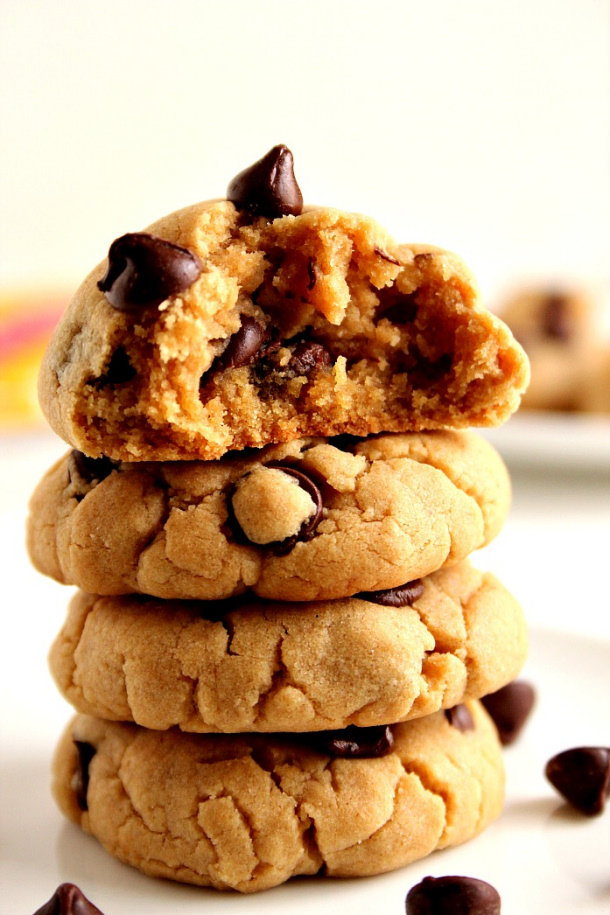 Peanut Butter Chocolate Chip Cookies Recipe via Crunchy Creamy Sweet