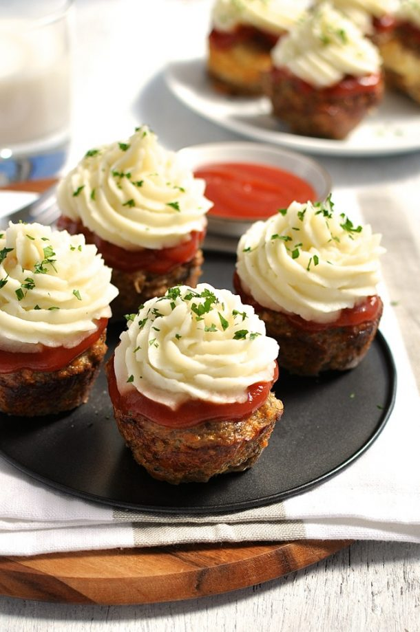 Beef Recipes - Mini Single Serve Meatloaf with Mashed Potato Toppers ...