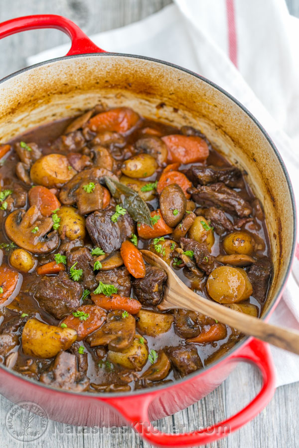 Beef Recipes - Tender and Hearty Beef Stew Recipe via Natashas Kitchen