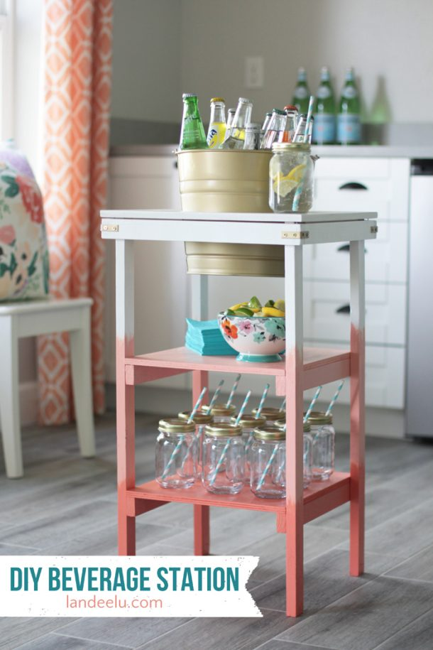 Here's a DIY beverage station made just from a couple of inexpensive cabinets and a beverage cooler.