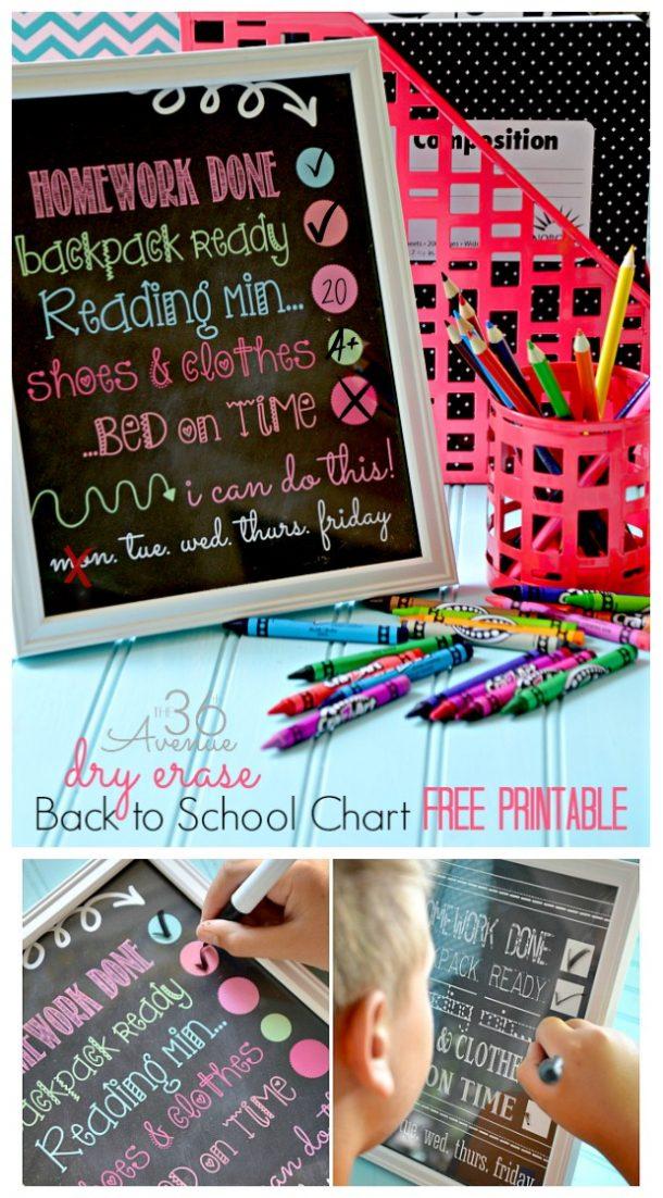 DIY Chore Charts - Dry Erase Back to School Kids Chore Chart FREE Printable via The 36th Avenue