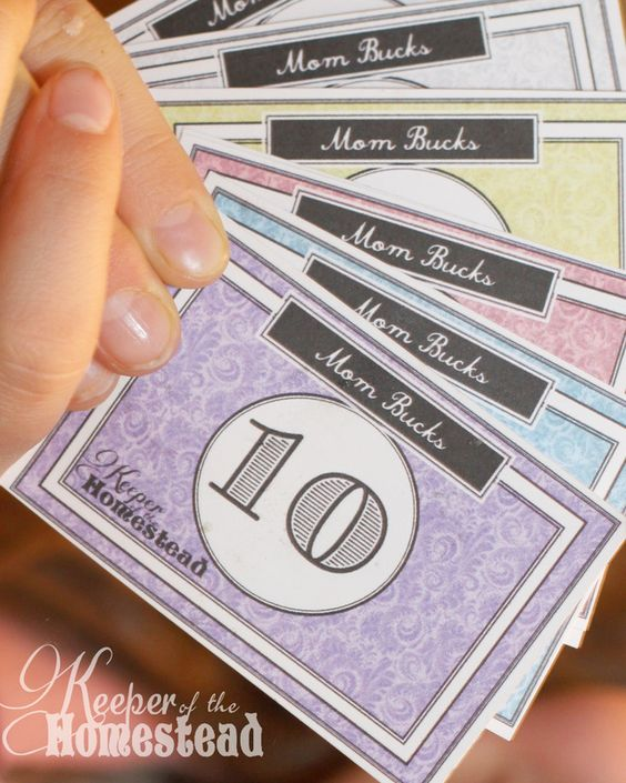 """DIY Chore Charts - Mom Bucks """"Miracle System"""" Printables and Tutorial via Keeper of the Homestead"""