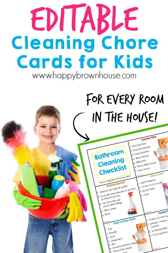 DIY Chore Charts - Organize your childs chores with step-by-step task cards - Editable Cleaning Chore Cards for Kids via Happy Brown House