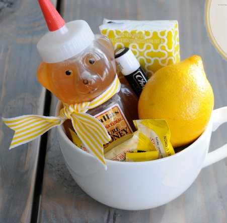 Do it Yourself Gift Basket Ideas for all Occassions - Get Well Soon Gift Basket Idea with Honey and Lemon via Do It Darling