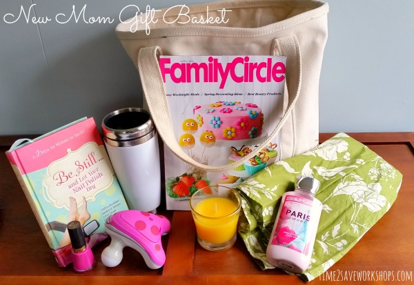 Do it Yourself Gift Basket Ideas for all Occassions - Pamper the New Mom with this fun gift bundle idea via time2save workshops