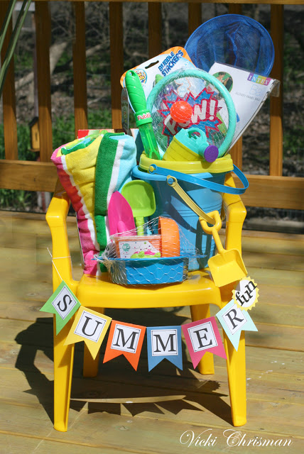 Do it Yourself Gift Basket Ideas for all Occassions - Use a Plastic Chair as the Basket and fill with fun summer Sand Toys via Vicki Chrisman