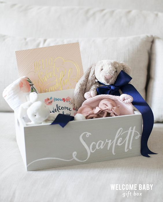 Do it Yourself Gift Basket Ideas for all Occassions - Welcome Baby Gift Box and Template to Create your own Welcome Baby Card via Style Me Pretty Living