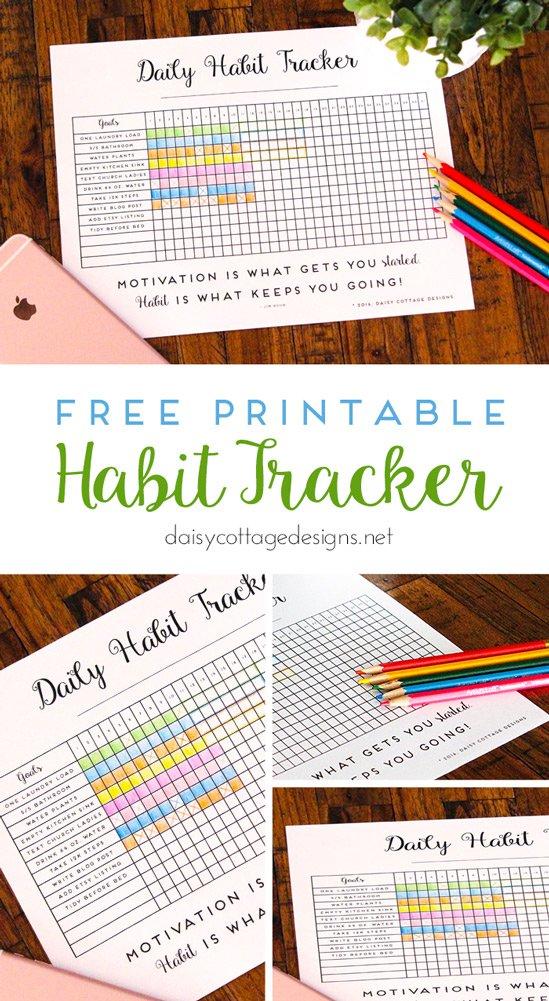 Organizational Printables - Daily Habit Tracker FREE Printable via Daisy Cottage Designs