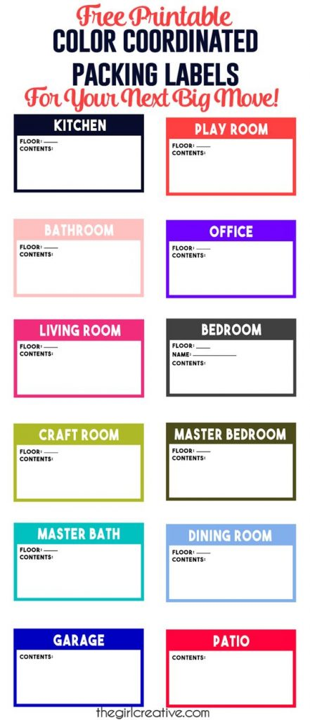 Organizational Printables - Free Printable Color Coordinated Packing Labels for your next MOVE via The Girl Creative