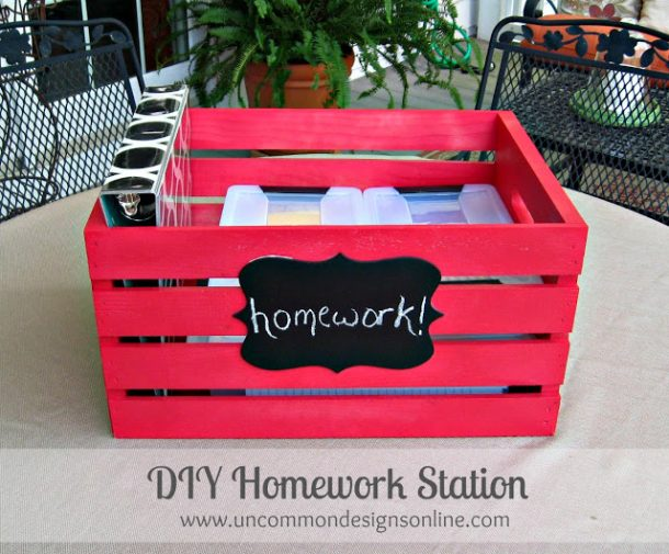 DIY Back to School Homework Station Ideas - Create a PORTABLE DIY Homework Station in a Crate - via Uncommon Designs