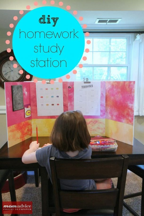 DIY Back to School Homework Station Ideas - Create a distraction free study station they can personalize to make homework more fun via momadvice