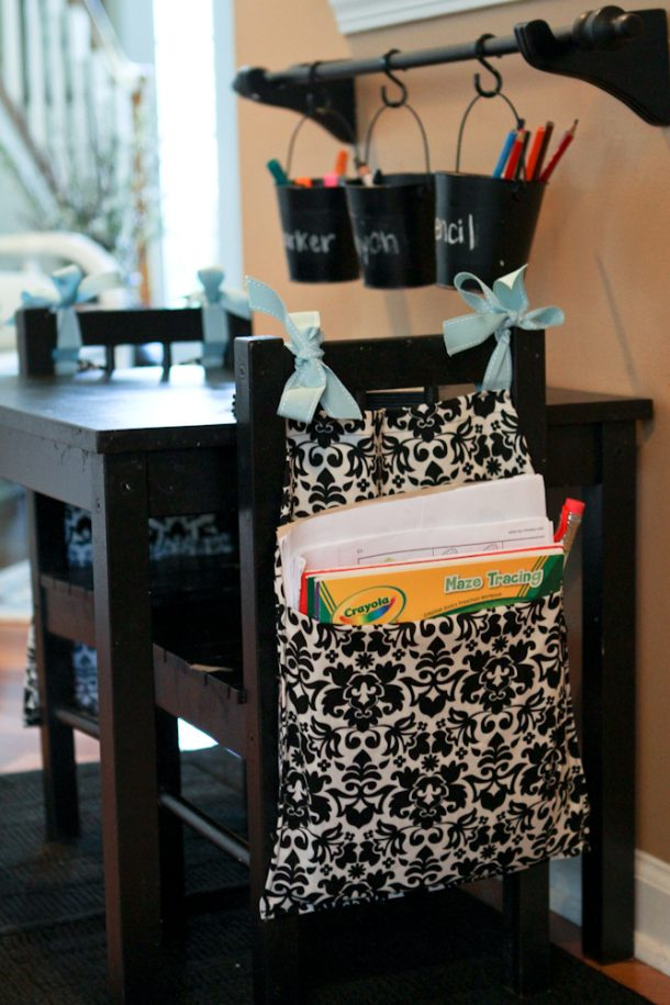 DIY Back to School Homework Station Ideas - Sew cute SEAT SACKS to hold homework supplies on the back of a chair at the table - Tutorial via Scissors and Spatulas