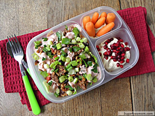 Fun Back to School Lunch Recipe and Ideas - Healthy Taco Salad Meal -To- Go and Peanut Butter Mousse Recipe via Sugar-Free Mom
