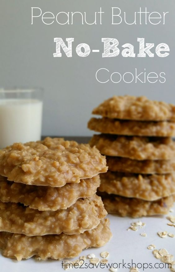 No Bake Cookies Recipes - The BEST Peanut Butter No-Bake Cookies Recipe via time 2 save workshops