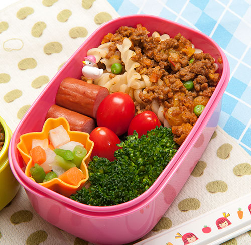 Pasta Based Bento Box Lunch Idea via Just Bento - Fun Back to School Lunch Recipe