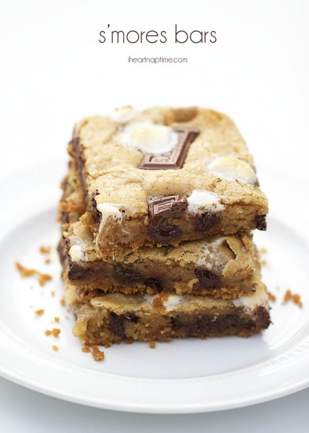 S'Mores Dessert Recipes - SMORES Cookie Bars Recipe via i heart naptime