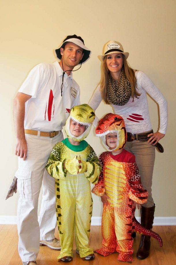 DIY Halloween Costumes - Dinosaur Trainers Fun Family Costumes Idea via Jackie Vest