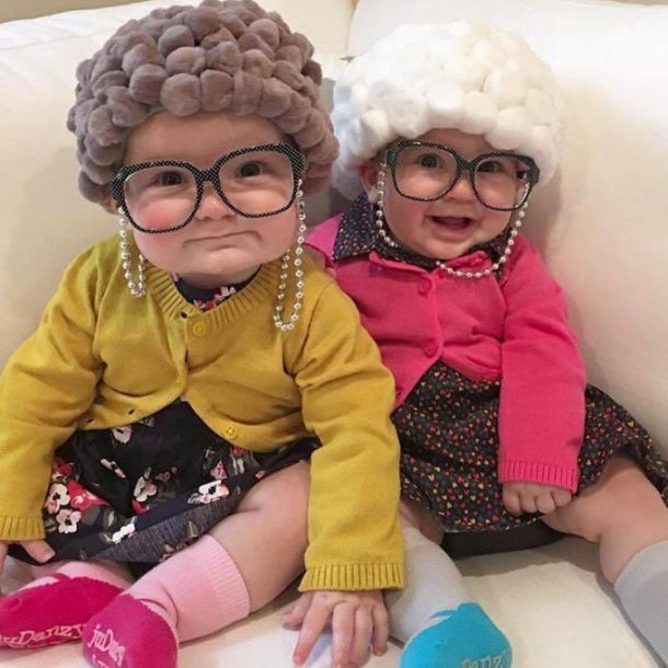 DIY Halloween Costumes Ideas - Old Lady Baby Costumes via Kitchen Fun with My 3 Sons
