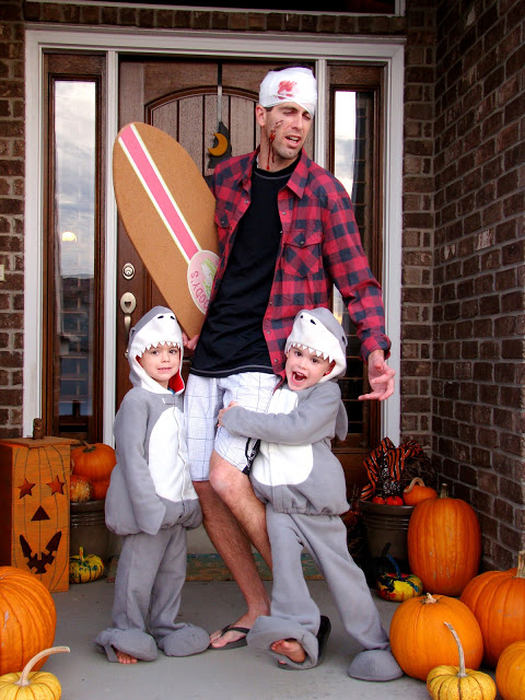DIY Halloween Costumes Ideas - Shark Attack Group Family Costume Idea via The Fickle Pickle