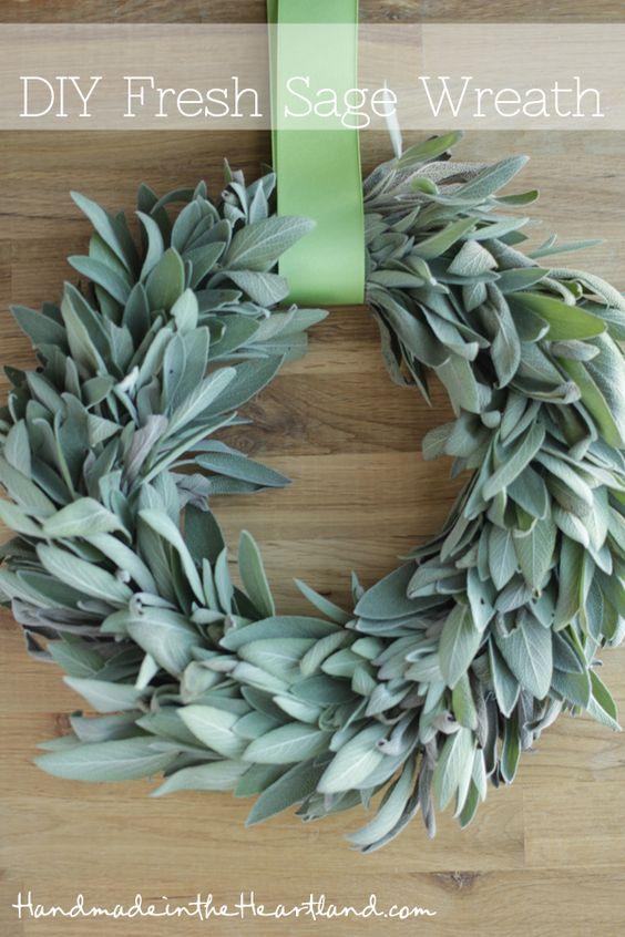 DIY projects - Fall Wreaths - DIY Fresh Sage Wreath Tutorial via Handmade in the Heartland - I bet this smells fantastic