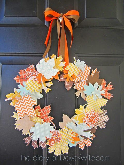 DIY projects - Fall Wreaths - Paper Craft Fall Leaves from Scrapbook Paper - so fun - Tutorial via The Diary of Daves Wife
