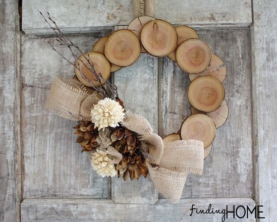 DIY projects - Fall Wreaths - Wood Slice and Burlap Natural Fall Wreath Tutorial DIY via Finding Home Farms