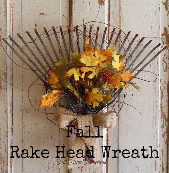 DIY projects ideas - Fall Wreaths - Rake Head Autumn Wreath Craft via Hill House Homestead