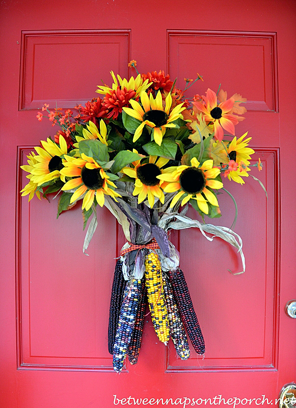 Pretty Corn Fall Door arrangement that takes 5 minutes or less to make! Tutorial via Between Naps on the Porch
